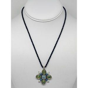 Lia Sophia Jeweled Pendant on Black Cord Necklace